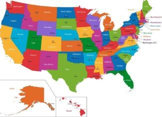 Mapa USA se státy a hlavními městy | volina/123RF.com