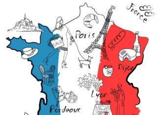 Stylizovaná mapa Francie   alisafoytik/123RF.com