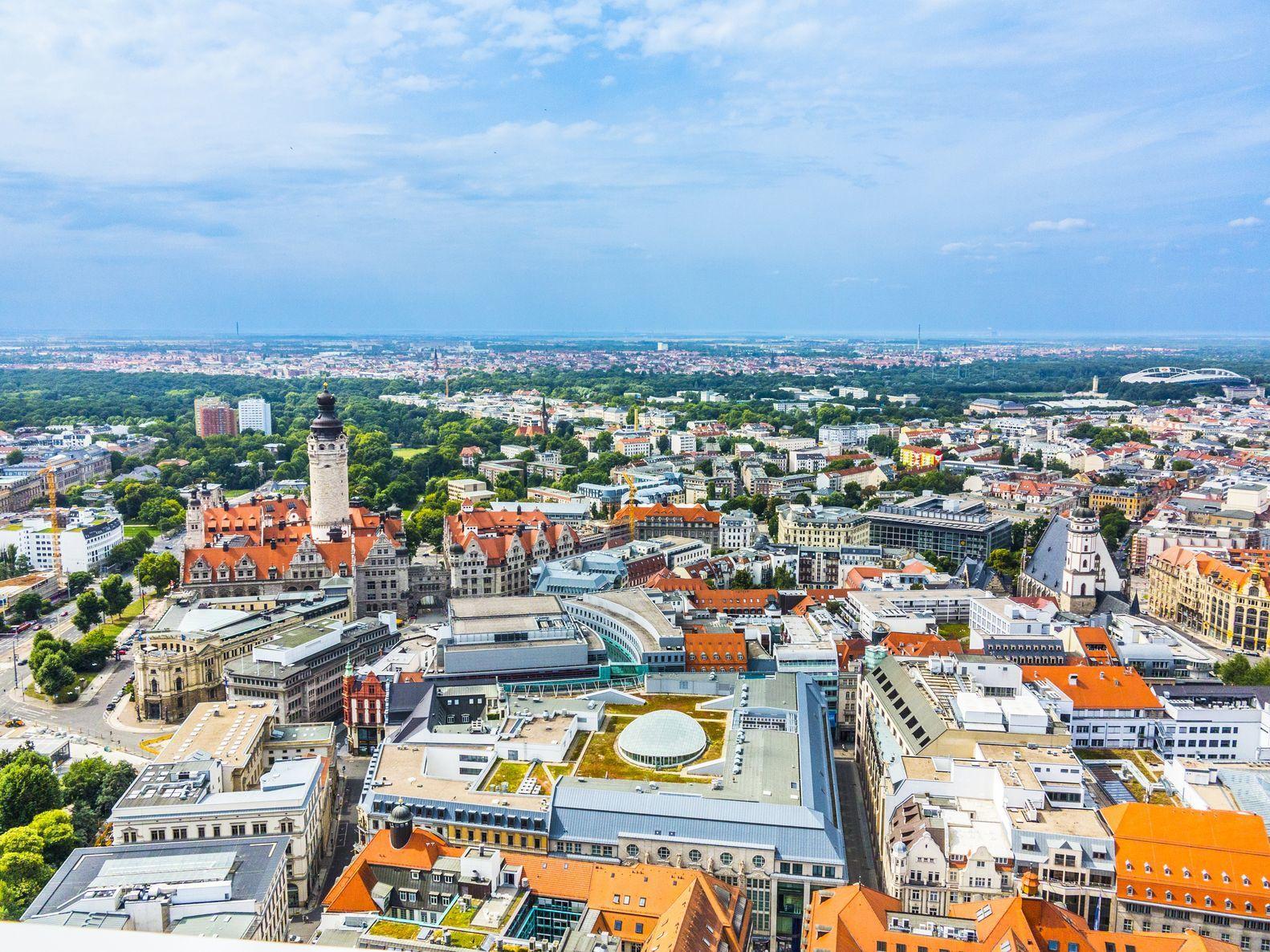 Letecký pohled na město Lipsko | meinzahn/123RF.com